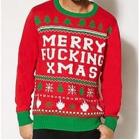 Merry Fucking Xmas Ugly Christmas Sweater - Spencer's