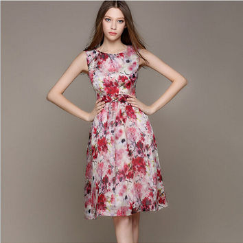 Red And Pinl Floral Print Sleeveless A-Line Dress