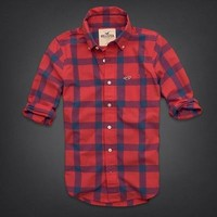 NWT Hollister Men's Shirt Size XL XLarge Stripps Pier, Red Plaid. Retail 89!