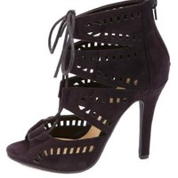 Laser Cut-Out Lace-Up Heels by Charlotte Russe - Black