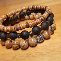 Brown Beaded Bracelet Set - Jewelry Set, Best Friend Gift Ideas, For Him, Brown Stack Bracelets, Wood Stone Bracelets, Bracelet Gift Pack
