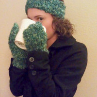Knit Headband and Mittens Set - Women and Teen Accessory - Headband Ear Warmer