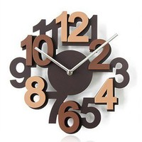 3D Hollow Numeral Wooden Wall Clock