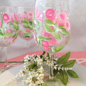 Hand Painted Wine Glasses Pink Rose Set of 4