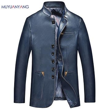 Men's Leather Jackets Slim Fit Faux Leather Jacket Casual Warm Coats Stand Collar Men Leather