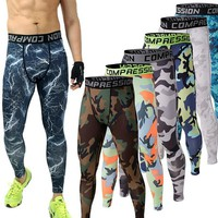 2017 high quality crime is camouflage compression pants 2016 men to join the brand clothing tights pants