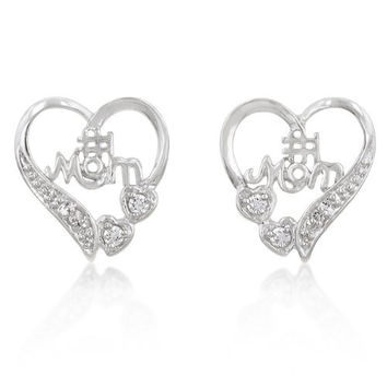 #1 Mom Earrings in White Gold