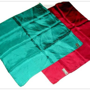Vintage DUO Turquoise and Burgundy SILK Italian Chest Pocket Squares Turquoise Burgundy