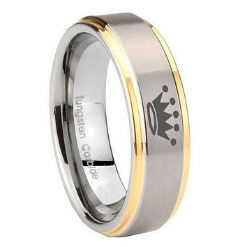 8MM Step Edges Crown 14K Gold IP Tungsten 2 Tone Laser Engraved Ring