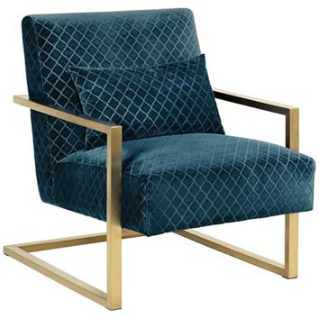 Zemo Diamond Teal Velvet Cantilever Accent Chair - #8G134 | LampsPlus.com