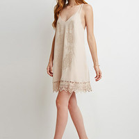 Embroidered Strappy Shift Dress