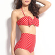High Waisted Strapless Bow Red Bikini Set with Cut Out Strap Design