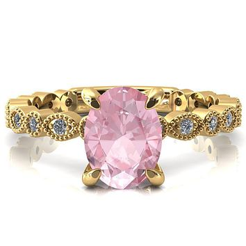 Polaris Oval Pink Sapphire 4 Claw Prong Diamond Halo Full Eternity Engagement Ring