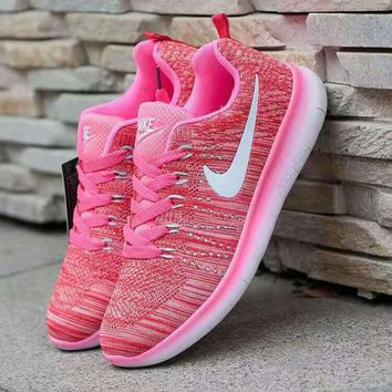 Nike Fashion Breathable Sneakers Sport Shoes Pink white hook