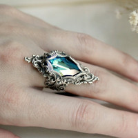 Lady of the Ocean Aged Silver and Swarovski Ring- Blue - Aqua - Silver - Victorian - Fantasy - Water - Summer - Bridal