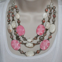 White Turquoise Cowgirl Statement Necklace, Pink Western Necklace