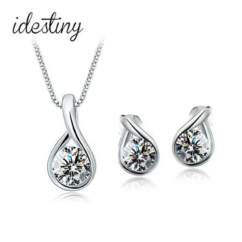 bridal wedding jewelry sets of drop tears jewellery sets for women white gold color plated bijoux best Valentine's Day gift 2017