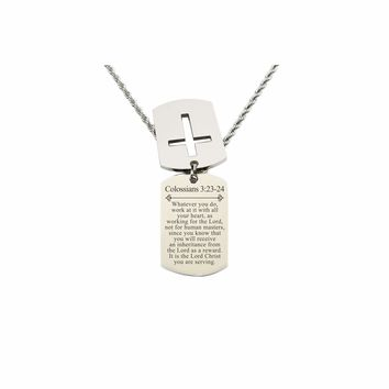 Mens Scripture Double Tag Necklace - Colossians 3:23-24