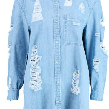 Ellie Oversized Ultra Distressed Denim Shirt | Boohoo