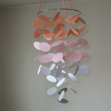 Floating Circles Paper Mobile Nursery Modern Baby Birthday Gift Wedding