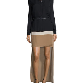 Long-Sleeve Belted Colorblock High-Low Dress,