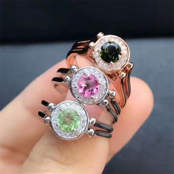 MEDBOO stone jewelry 2018 new fashion adjustable 925 silver ring natural gemstone pink green tourmaline ring for engagement