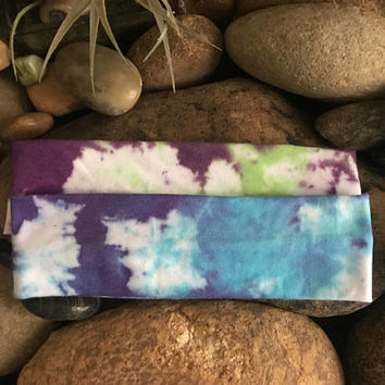 Tie dye headband - Fitness - hand dyed - Running - Softball Headband- Sports - Stocking Suffers - Yoga - Rainbow headband - Gypsy