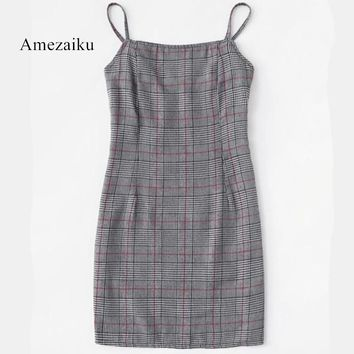 summer clothes sexy plaid checkered spring summer dress plaid spaghetti strap vintage clasp houndstooth shift dresses vestidos