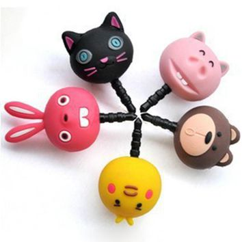 Universal 3.5mm cute lovely animal anime cartoon rabbit cat pig bear phone headset earphone ear hole anti dust plug cap jack