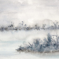 Landscape painting, winter landscape, lake painting, abstract watercolor painting, original artwork, misty painting, mood painting, 10X8