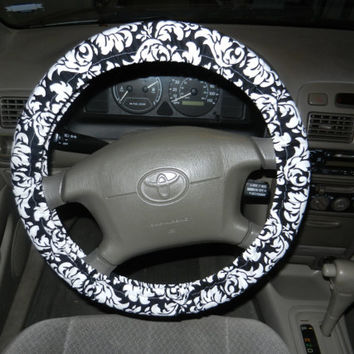 Black and White Damask Steering Wheel Cover