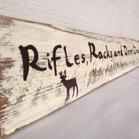 Rifles, Racks, and Deer Tracks, that's what little boys are made of, Rustic wooden sign, boys room decor, nursery decor