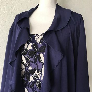 SAG HARBOR STRETCH WOMEN'S Plus Size 2X Royal Purple Floral Blouse NEW