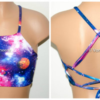 Galaxy High Neck Halter Bikini Top, Criss Cross Adjustable Swimwear Bikini Top, Festival Top