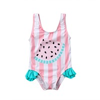 New Summer Toddler Newborn Baby Girl Watermelon Pattern Stripe Swimsuit Swimwear Swimming Bodyauits