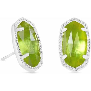 Kendra Scott: Ellie Silver Stud Earrings In Peridot Illusion