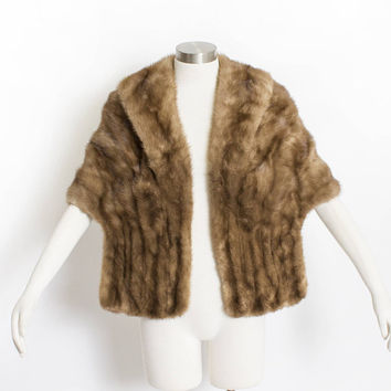 Vintage 1950s Fur Stole - MINK Brown Plush Fluffy Wrap Caplet 50s - Small / Medium