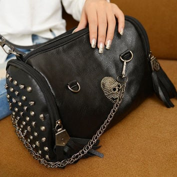 Winter Skull Rivet Tassels One Shoulder Bags [6046887681]