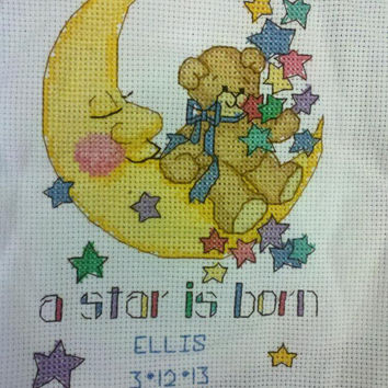 Birth Announcement, Baby Shower Gift, Personalized, A Star is Born, Birth Record, Completed Cross Stitch, Baby Boy or Girl, Nursery Decor