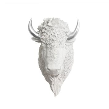 The Yellowstone | Large Buffalo Bison Head | Faux Taxidermy | White + Silver Horns Resin