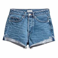 Short High Waist Shorts - Denim blue trashed - Ladies | H&M GB