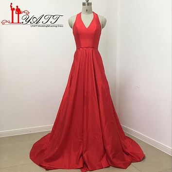 robe de soiree 2017 Sexy A line Halter Neck Red Long Woman Prom Dresses For Sepical Occasion Dress High Slit Evening Gowns LY161