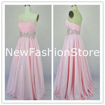 Sweetheart Neckline Straplee Floor Length Senior Prom Dress
