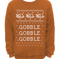 Gobble Gobble - Ugly Christmas and Thanksgiving Sweater - Burnt Orange MENS CREW Sweatshirt