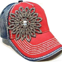 Red and Blue Hat with Rhinestone Flower