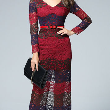 Color Block Lace Long Sleeve Maxi Dress