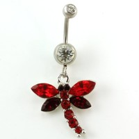 Red Dragonfly Dangle Belly Button Navel Ring Body Fashion Jewelry 14 Gauge