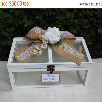 ON SALE Wedding Greenhouse  Card Box / Rustic Wooden Wishes Card Box Holder / Wedding Decor