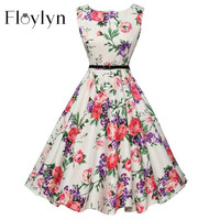 Floylyn Women Dress Summer Floral Print Retro Casual Party Robe Pinup Rockabilly 50s Vintage Dresses