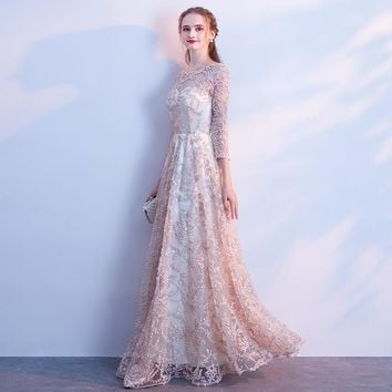 O-neck Three Quarter Sleeve Lace Flowers Party Dresses Floor Length